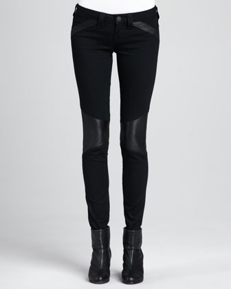 Leather-Panel Moto Skinny Jeans