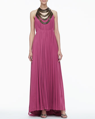 Mirage Beaded Neckline Gown