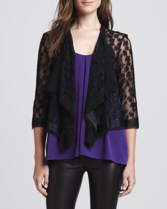 Draped Open Lace Jacket