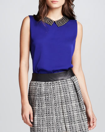 Stud-Collar Sleeveless Top
