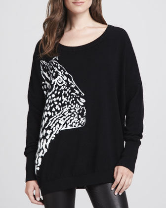 Cheetah-Pattern Knit Sweater