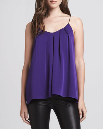 Pleated Sleeveless Silk Top