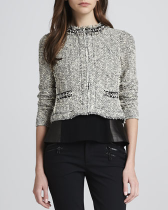 Embellished Cropped Tweed Jacket
