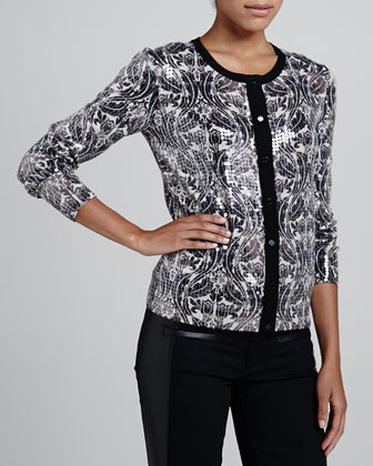 Mikki Sequined Wool Cardigan