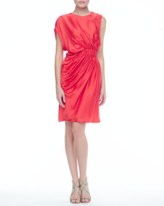 Lanza Short Draped Dress, Watermelon