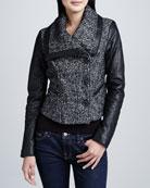 Tweed Jacket with Leather Sleeves