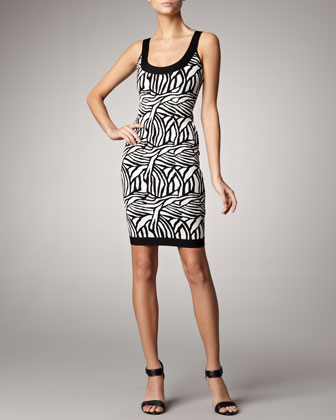 Printed Scoop-Neck Bandage Dress