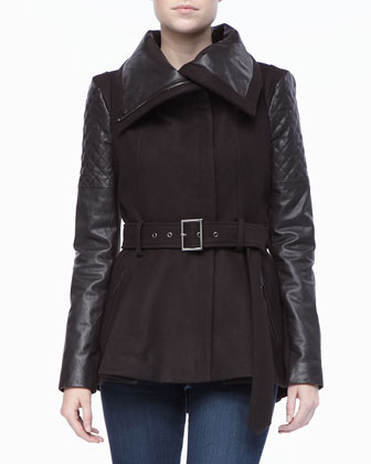 Oversized Leather Collar Belted Jacket