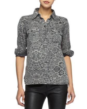 The Perfect Lace-Print Shirt & Skinny Leather Ankle Pants