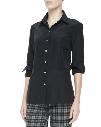 Faille Button-Front Shirt, Black