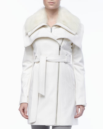 Wool Fur-Collar Collar Coat