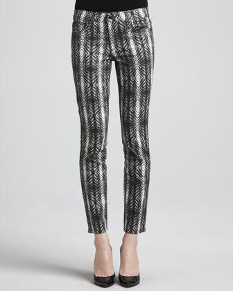 Coated Snake-Print Skinny Jeans