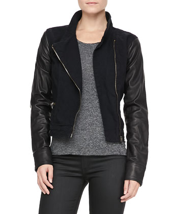 Canvas-Leather Moto Jacket and Cotswald Zip-Leg Capris