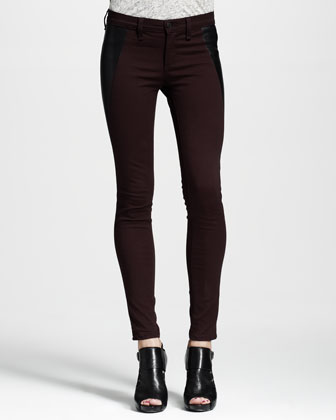 Mid-Rise Pop Leather-Panel Leggings, Wine/Black