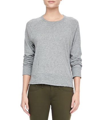 Classic Raglan Pullover and Army Sateen Legging Jeans
