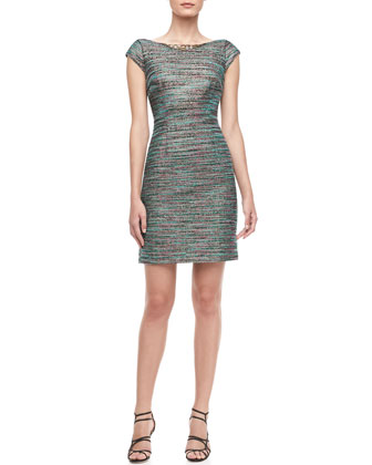 Beaded-Neck Tweed Dress