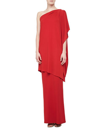 One-Shoulder Asymmetric Draped Gown