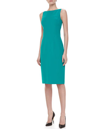 Sleeveless Boat-Neck Dress, Turquoise