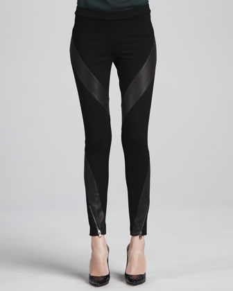 Leather-Panel Ponte Pants