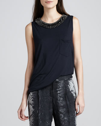 Beaded-Neck Sleeveless Top