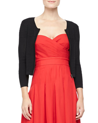 Ribbed Zip-Front Cardigan & Benita Strapless Sweetheart Dress