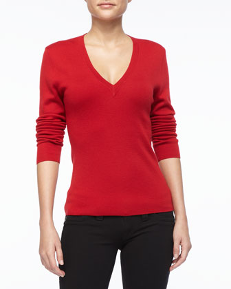 Cashmere V-Neck Top, Crimson