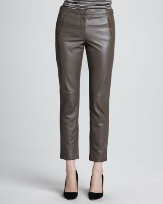 Darius Striped Ponte Sweatshirt & Straight-Leg Cropped Leather Pants