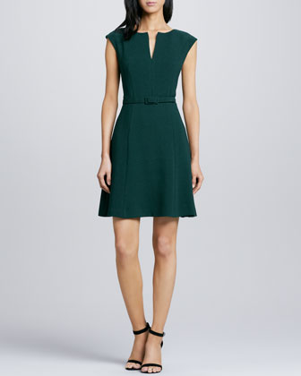 Shanelle Belted Crepe Dress