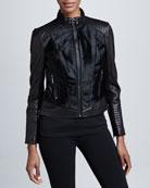 Leather & Fur Moto Jacket