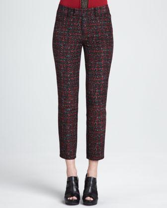 Paree Cropped Tweed Print Pants