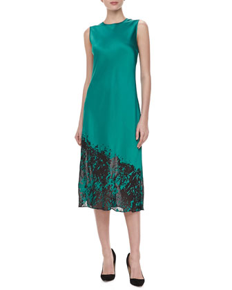 Bias Devore Midi Dress, Turquoise