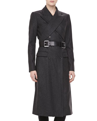 Wool Crisscross Double-Breasted Coat