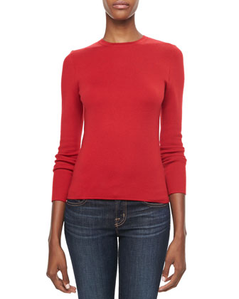 Long-Sleeve Cashmere Top, Crimson