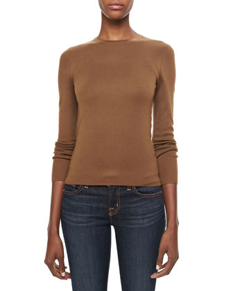 Long-Sleeve Cashmere Top, Saddle