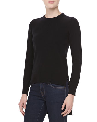Cashmere High-Low Top, Black