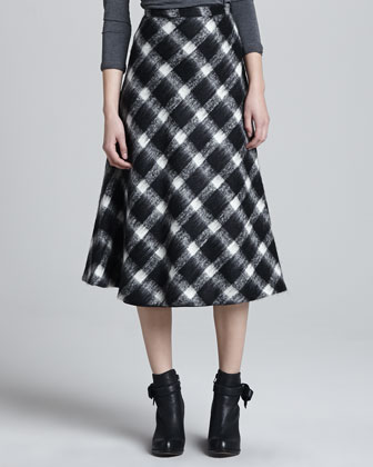 Buffalo Check A-Line Skirt, Ivory
