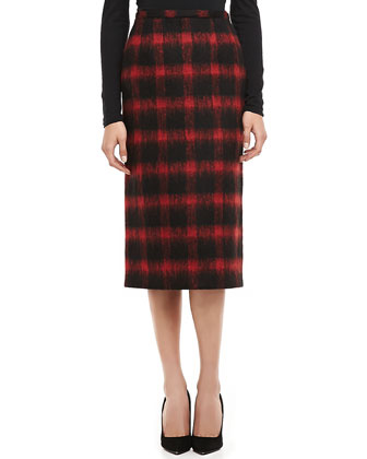 Buffalo Plaid Oven-the-Knee Pencil Skirt