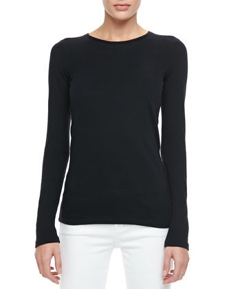 Long-Sleeve Crewneck Top, Neutrals