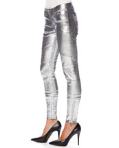 Metallic Leather Moto Pants
