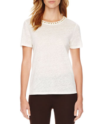 Stud-Neck Linen Top