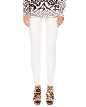 Zebra-Print Faded Sweater & Zipper-Cuff Skinny Jeans