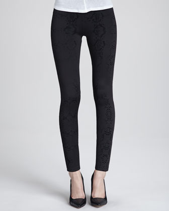 Snake-Flocked Classic Leggings