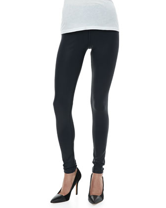 Seamed Zip Coated Leggings, Ink