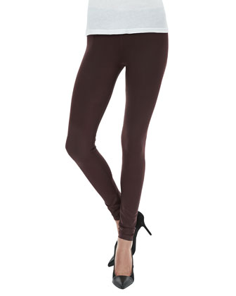 Seamed Zip Coated Leggings, Merlot