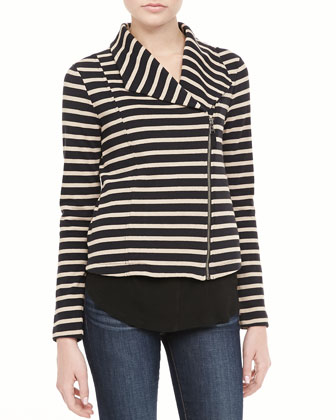 Vista Striped Asymmetric-Zip Jacket