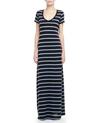 Short-Sleeve Striped Maxi Dress