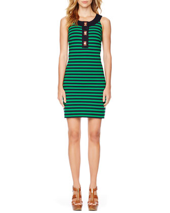 Turnlock Striped Ponte Dress
