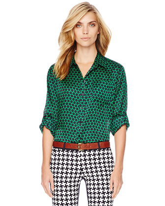 Printed Tab-Sleeve Blouse, Women's