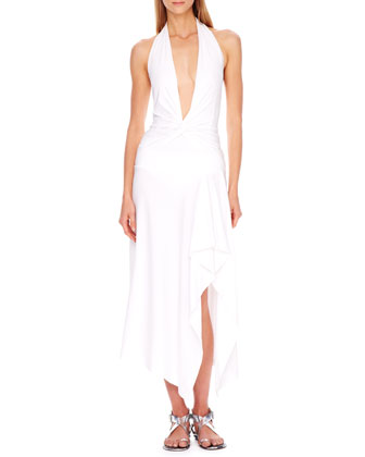 Plunging Twisted Halter Maillot & Draped Coverup Skirt