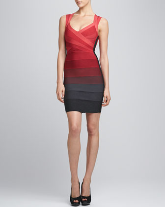 Ombre Cross-Neck Bandage Dress, Red